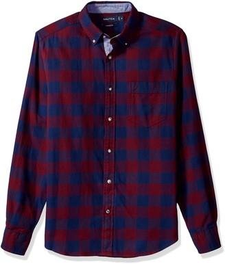 Nautica Men's Standard Long Sleeve Buffalo Plaid Cozy Flannel Button Down Shirt