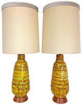 One Kings Lane Vintage Midcentury Monumental Ceramic Lamps - Set of 2 - Jacki Mallick Designs - bases, yellow/orange/green; shades, off-white