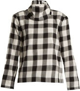 Tibi Tess checked cotton-blend top