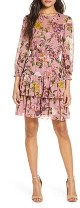 Eliza J Floral Print Balloon Sleeve Ruffle Dress