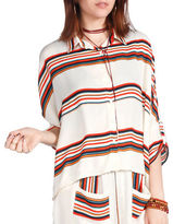 California Moonrise Button-Front Striped Blouse