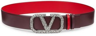 Valentino V Logo Crystal-Embellished Leather Belt