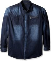 Sean John Men's Big and Long Sleeve Denim Button up Shirt