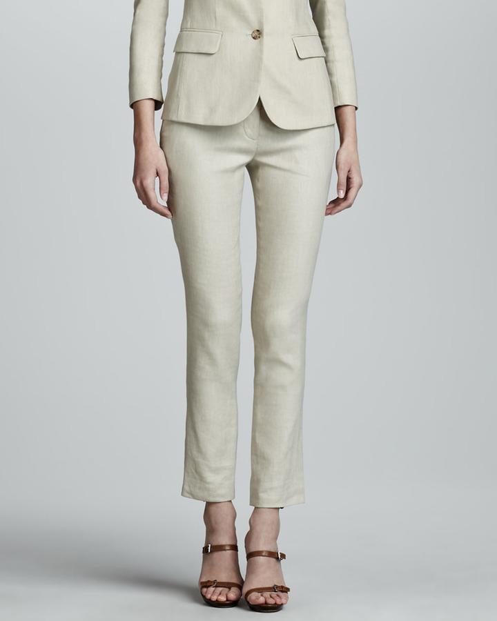 The Row Flat Front Slim Linen-Blend Pants, Truffle