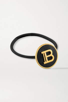 Balmain Paris Hair Couture Gold-plated And Leather Hair Tie - Black