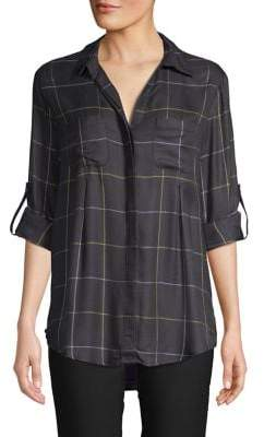 Lord & Taylor Plaid Button-Down Blouse