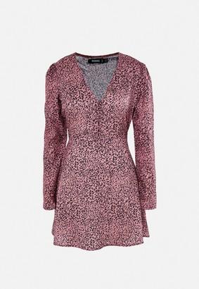 Missguided Blush Leopard Print Half Button Tea Dress