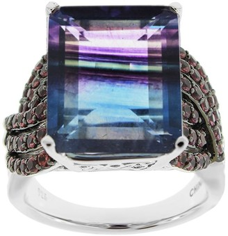 Sterling Silver 14.00 cttw Bi-Color Fluorite &Rhodolite Ring
