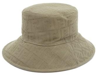 Fendi Ff-jacquard Cotton Bucket Hat - Mens - Light Brown