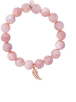 Sydney Evan Mauve moonstone beaded bracelet with diamond mini wing charm