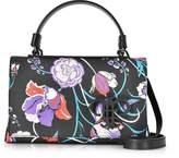 Emilio Pucci Floral Print Eco Leather Mini Top Handle Bag