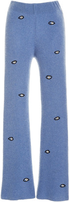 The Elder Statesman Embroidered Eyes Ribbed Cashmere Pants