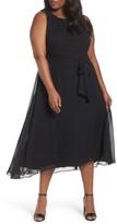 Tahari Plus Size Women's Tea Length Fit & Flare Dress