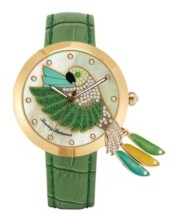 Tommy Bahama Women's Love Parrot Tail Feather Green Leather Strap Watch, 40mm