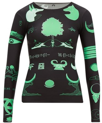 Marine Serre Long-sleeved Shamanic-print Top - Black Green
