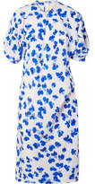 Lemaire Floral-print Silk-twill Midi Dress - Blue