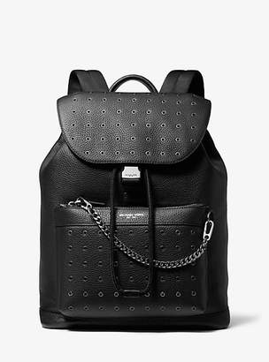 Michael Kors Greyson Grommeted Pebbled Leather Backpack