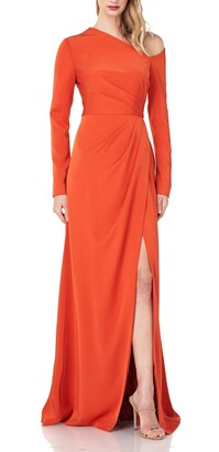 Kay Unger Rowan One-Shoulder Long Sleeve Stretch Faille Gown