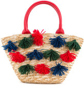 Familiar pompom embellished shoulder bag - kids - Straw - One Size