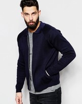 Asos Knitted Bomber Jacket With Collar In Navy