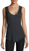 Zadig & Voltaire Tam Scoop-Neck Golden-Foil Tank