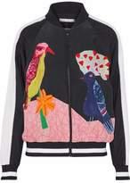 Alice + Olivia Alice+olivia Printed Bead-Embellished Washed-Silk Bomber Jacket