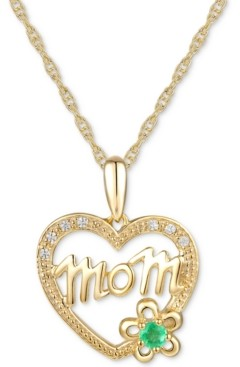 """Macy's Emerald Accent & Diamond Accent Mom 18"""" Pendant Necklace in 14k Gold"""