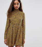 Fashion Union Petite High Neck Neck Skater Dress In Leopard Print