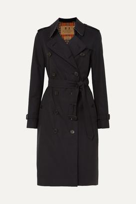 Burberry The Kensington Long Cotton-gabardine Trench Coat - Midnight blue