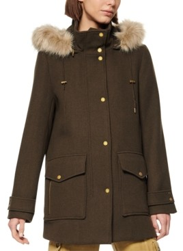 Andrew Marc Faux-Fur-Trim Hooded Coat