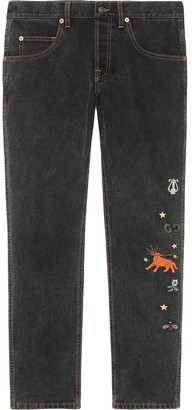 Gucci Embroidered Motif Slim-Fit Jeans