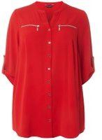 Dorothy Perkins Womens DP Curve Plus Size Red Zip Detail Shirt- Red