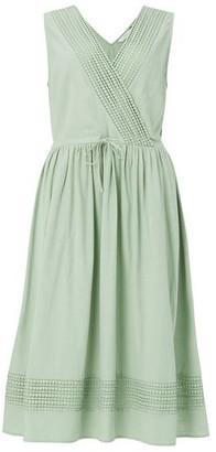 Nümph Kiki Faux Wrap Cotton Dress Granite Green - 40