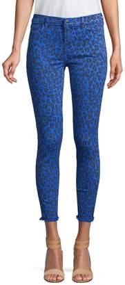J Brand 835 Mid-Rise Crop Animal Print Skinny Jeans