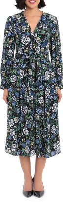 Maggy London Floral Long Sleeve Midi Shirtdress