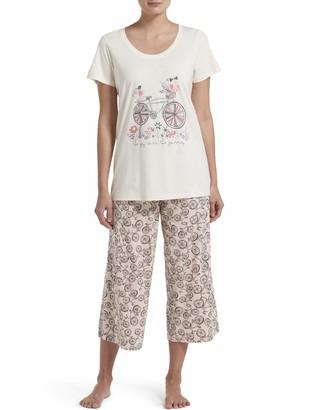 Hue Women's Printed Knit Short Sleeve Tee and Capri 2 Piece Pajama Set