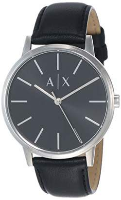 Armani Exchange Men's Cayde Stainless Steel Analog-Quartz Watch with Leather Strap