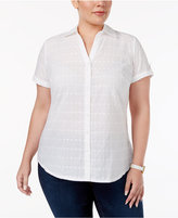 Karen Scott Plus Size Eyelet Short-Sleeve Shirt, Created for Macy's