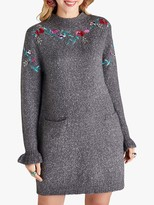 Yumi Embroidered Floral Knit Tunic, Grey Marl