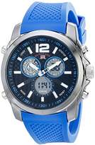 U.S. Polo Assn. Sport Men's US9515 Silver-Tone Watch with Blue Silicone Band