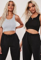 Missguided Black And Grey 2 Pack Scoop Neck Tank Tops
