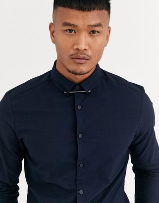ASOS DESIGN skinny fit textured shirt with collar bar in navy