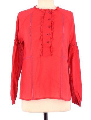 Antik Batik Red Cotton Top for Women