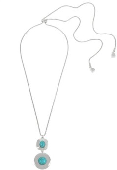 Kenneth Cole New York Silver-Tone Cabochon Pendant Slider Necklace