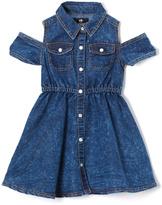 Dollhouse Dark Blue Wash Denim Off-Shoulder Dress - Girls