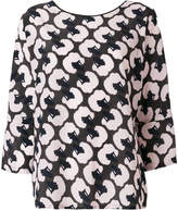 Odeeh poodle head print blouse