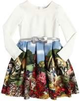 MonnaLisa Snow White Jersey & Neoprene Dress