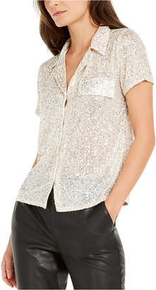 INC International Concepts Inc Petite Sequined Utility Shirt