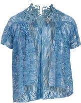 Pretty Angel Women's Boleros TURQUOISE(TQ) - Turquoise Lace Silk-Blend Open Cardigan - Women