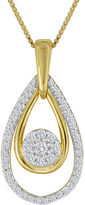 JCPenney FINE JEWELRY diamond blossom 1/4 CT. T.W. Diamond Cluster Double-Teardrop Pendant Necklace